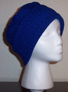 Royal Blue Rib Knit Roll-brim Hat
