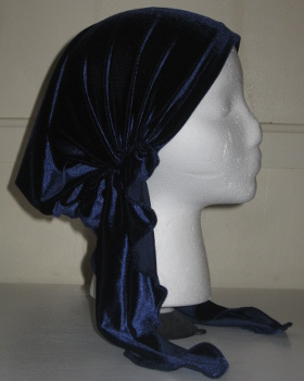 Navy Stretch Velvet Pre-tied Tichel