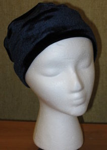 Navy Stretch Velvet Roll-brim Hat