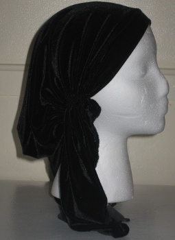 Black Stretch Velvet Pre-tied Tichel